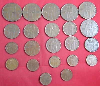 22 vintage Norway coins