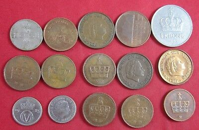 15 vintage Norway coins