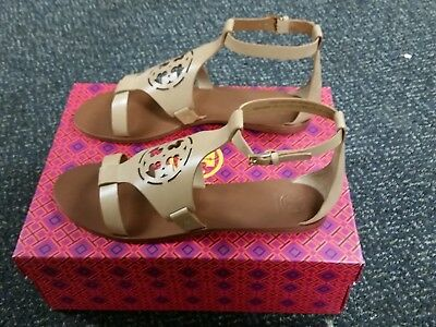 7bef7b2b7fa TORY BURCH ZOEY Sandals Cut Out Leather Logo Shoes Wedge Ankle Strap ...