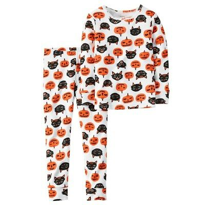 Baby Boy Girl Carter's Pumpkin Black Cat Face Halloween PJs Pajama Set 12 Months