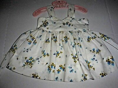 Vintage 50s Toddler Girl Sundress Cotton With Slip Flowers Leaves Butterflies