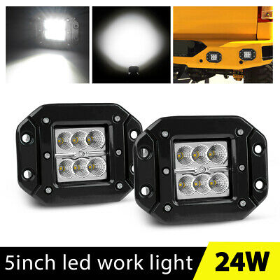"2x 5"" Flush Mount LED Pods 80W Quad Row Work Light Bar Cube Jeep Truck Off-Road"
