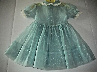 Vintage 50s Toddler Girl Party Dress Sheer Nylon Dotted White on Aqua Lace Trim