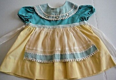 VIntage 50s Toddler Girl Dress Cotton Yellow Turquoise With Apron Look Lace Trim