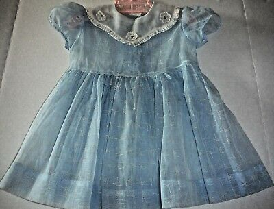 VIntage 50s Toddler Girl Party Dress Blue Nylon with Pattern Rhinestone Collar