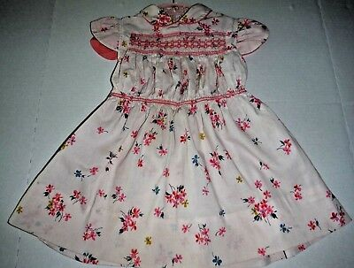 Vintage 50s Toddler Girl Dress Cotton Smocked Cap Sleeves Flowers Belt Pale Pink