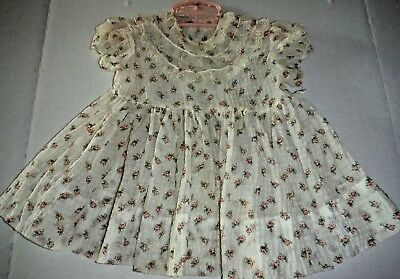 Vintage 50s Toddler Girl Dress Nylon White and Pink Flowers Lace on Bodice SS