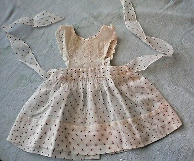 Vintage 50s Toddler Girl Sun Pinafore White w Red Dots Eyelet on Chest Lace Trim