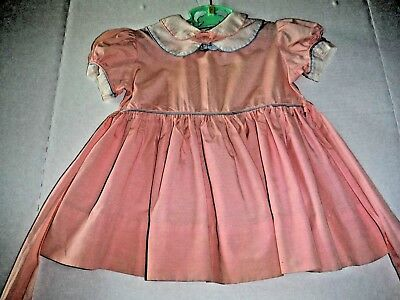 Vintage 50s Toddler Girl Dress Cotton Pink SS Piping Double Collar Hedy-Joyce