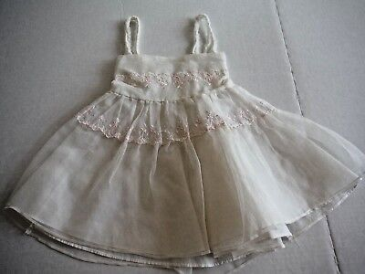 Vintage 50s Toddler Girl Nylon Slip With Pink Flowers Layered and Gathered