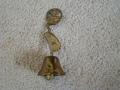 "Vintage Oriental Brass Bell Large Bird 4 1/4"" Tall Handmade Oriental Mark VG"