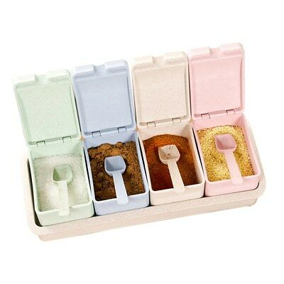 4pcs/set Seasoning Spice Jar Acrylic Condiment Box Kitchen Storage Boxes AU