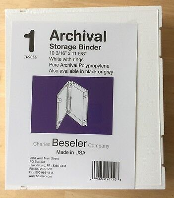 "Beseler Archival Storage Binder w/rings, 10-3/16""x11-5/8"" BRAND NEW, White"
