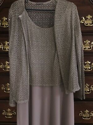 Ladies evening dress-mother of the bride-Taupe- size 14 worn one time.