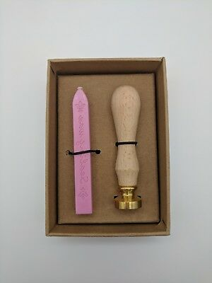 Small Sealing Wax Kit With Leafy Stamp and Pink Wax Stick