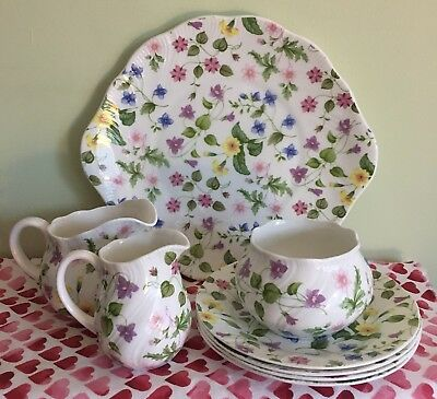 Queen's/Queens - Country Meadow Plates & Jugs Set - Bone China