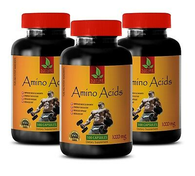 muscle gainer - AMINO ACIDS 1000mg - sport supplements - 3 Bottles 300 Capsules