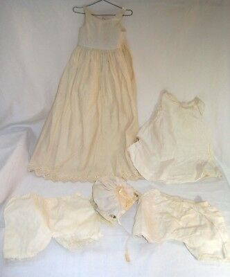 Lot of Antique Doll Clothes 5 Pcs for Bisque Dolls Pre 1940's Wool Gown, Slip+