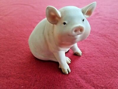 """Pig Figurine Off-White Pink 3.5"""" Farm Animal Sitting Collectible"""