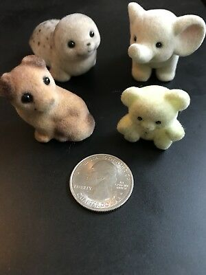 Vintage Flocked Animals Lot Of Four