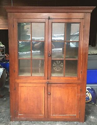 """Large Early 19th Century Antique 12 Pane Cherry Cupboard Cherry Hutch 80""""x58""""x18"""