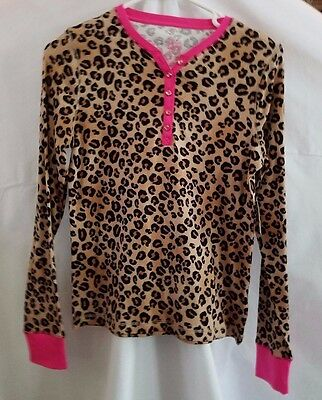 Girls Faded Glory Long Sleeve Brown Animal Print Bling Button Shirt Size XL  148
