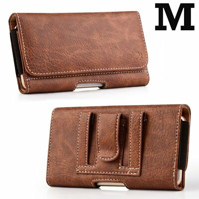iPhone XS iPhone 10S - Brown Leather Belt Clip Horizontal Pouch Card Pocket Case