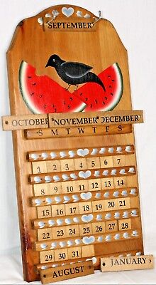 """Vintage Wooden Perpetual Hanging Wall Calendar Painted Bird Hearts Melon 23""""x11"""""""
