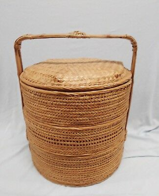 Vintage 3 Tier Woven Bamboo Stacking Wicker Chinese Wedding Marriage Basket