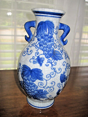 "China Glazed Crackle Ribbed Blue & White Flower Vase 9 1/2"" H x 5"" W - 3"" @ Top"