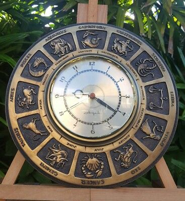 """Vtg MCM Mid-Century Airguide Zodiac Astrology Wall Clock 14"""" Round Face WORKS"""