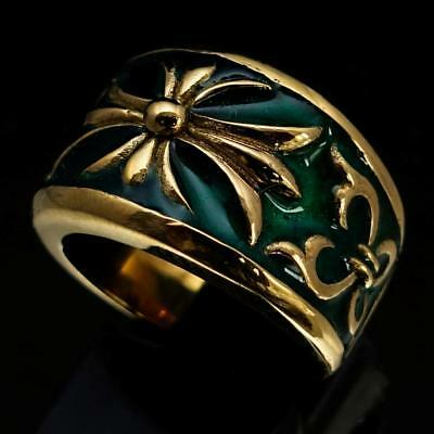 Medieval Bronze Mens Knight Ring Fleur De Lis Cross Lily Dark Green Any Size