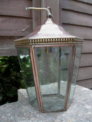 Antique/vintage Brass/copper Porch Lantern.good Quality With 6 X Bevelled Panels