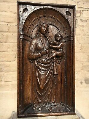 SALE! Early oak Flemish Gothic Madonna & Child/church piece/Medieval/Virgin Mary