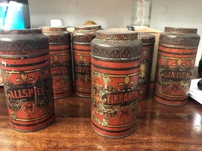 Antique Victorian Set Of 6 YMC Spice Tins-Tea,Cinnamon,Ginger,Baking Powder