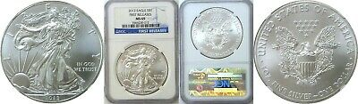 2012 $1 American Silver Eagle NGC MS 69 Early Releases Blue Label