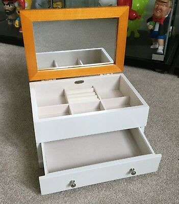 MELE White Wooden Jewellery Storage Box Chest of Drawers Ring Holder Mirror