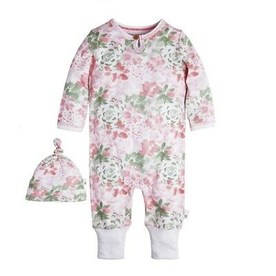 Burt's Bees Baby Organic Succulent Flowers Ruffled Coverall & Hat Set 24 Months