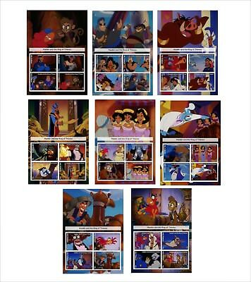 Disney 2017 Aladdin And The King Of Thieves 8 Souvenir Sheets Unperforated