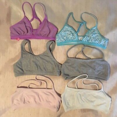 Girls lot of 6 beginner bras bralettes size 32 sports & front hook free shipping