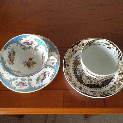 Two Antique Cups & Saucers. One English Oriental &  One Grosvenor  Ruthland Pat