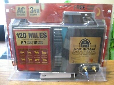 New! American Farm Works  A/C Electric Fence Controller 120 Mile