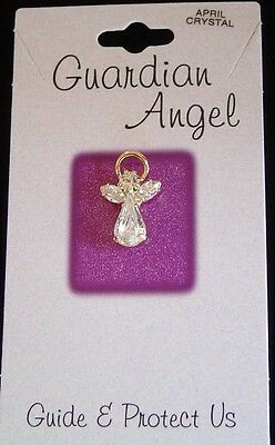April birthstone Guardian Angel pin, clear crystals