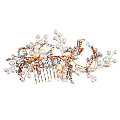 Gold Color Crystal Simulated Pearl Hair Comb For Wedding Hair Accessories H K9B8