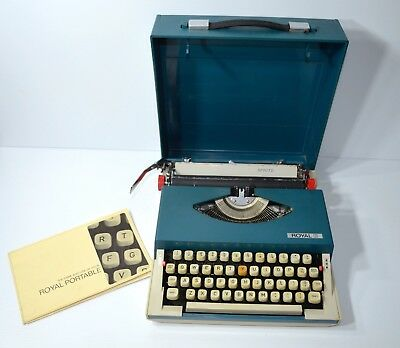 Vintage 1960s ROYAL SPRITE Model Blue Portable Typewriter W/ Case & Instructions