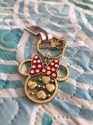 Disney Parks Minnie Mouse Icon Gold Tone Spinning Hearts Metal Keychain
