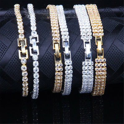 18k White Gold Womens 4mm Iced Out Tennis Bling Lab Simulated Diamond Bracelet