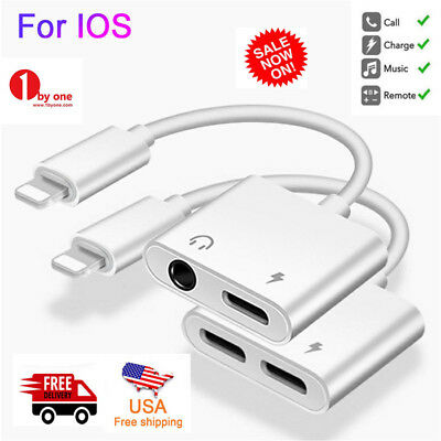 Lightning 3.5mm Headphone Splitter Cable Adapter for iPhone Xr Xs Max 6 6S 7 8 X