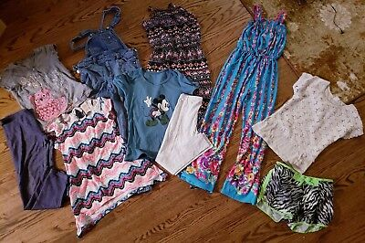 Girls 7/8 mixed clothing lot, rompers,overalls, leggings, tops, shorts 10 piece
