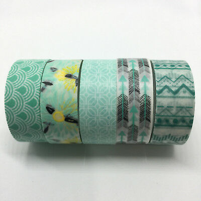 Washi Tape Set Mint/aqua 5 Rolls X 15Mm X 5Mtr Planner Craft Scrap Wrap Mail Art